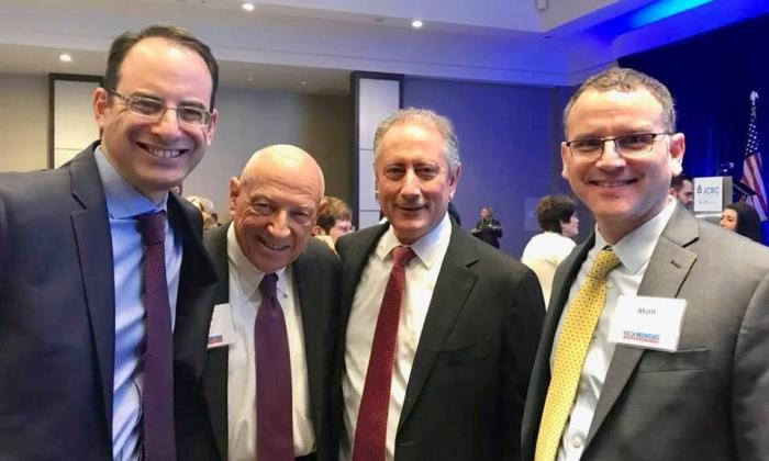 Attorney General Phil Weiser, former state Sen. Rollie Heath, honoree Noel Ginsburg and prosecutor Matt Maillaro at this year's Jewish Community Relations Council lunch. (Photo by Lynn Bartels)